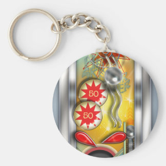 Funny Retro Pinball Machine Keychain
