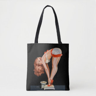 Funny retro pinup girl on a weight scale tote bag