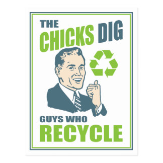 Funny Retro Recycling Logo Guy Postcard