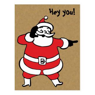 Funny Retro Santa Claus Postcard