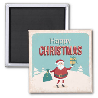 Funny retro Santa Claus with Christmas gifts Magnet