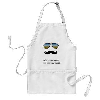 Funny Retro Sunglasses with Moustache Adult Apron