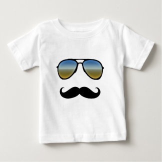 Funny Retro Sunglasses with Moustache Baby T-Shirt