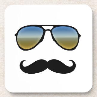 Funny Retro Sunglasses with Moustache Beverage Coaster