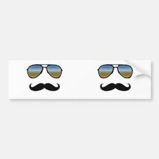 Funny Retro Sunglasses with Moustache Car Bumper Sticker