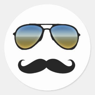 Funny Retro Sunglasses with Moustache Classic Round Sticker