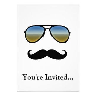 Funny Retro Sunglasses with Moustache Invite