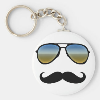 Funny Retro Sunglasses with Moustache Keychain