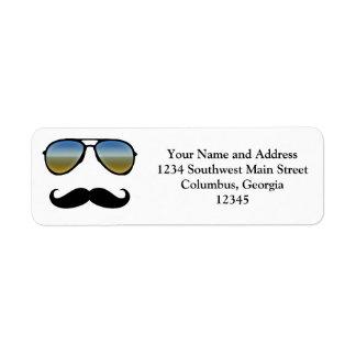 Funny Retro Sunglasses with Moustache Label