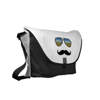 Funny Retro Sunglasses with Moustache Messenger Bag