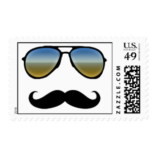 Funny Retro Sunglasses with Moustache Postage