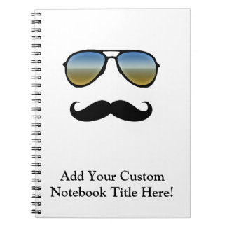 Funny Retro Sunglasses with Moustache Spiral Notebook