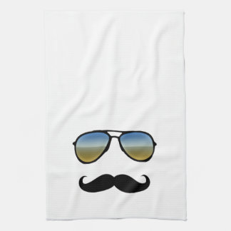 Funny Retro Sunglasses with Mustache Kitchen Towels