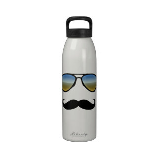 Funny Retro Sunglasses with Mustache Drinking Bottle
