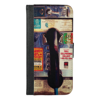 Funny Retro US Public Pay Phone Close Up Picture iPhone 6/6s Plus Wallet Case
