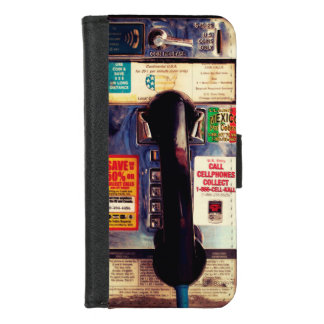 Funny Retro US Public Pay Phone Close Up Picture iPhone 8/7 Wallet Case