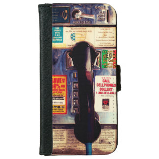Funny Retro US Public Pay Phone Close Up Picture Wallet Phone Case For iPhone 6/6s