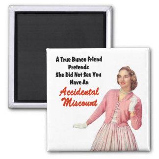 Funny Retro Vintage Bunco 2 Inch Square Magnet