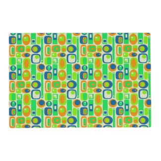 Funny Retro Wallpaper - orange green blue Placemat
