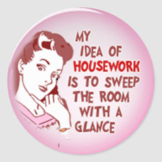 Funny retro woman 50's housewife housework sticker