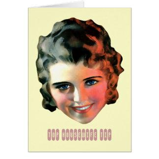 Funny Retro Woman Housework Tip Card