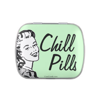 Funny Retro Woman Mint Chill Pills Jelly Belly Tin