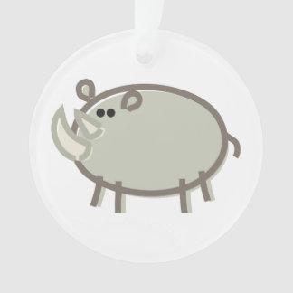 Funny Rhino on White Ornament