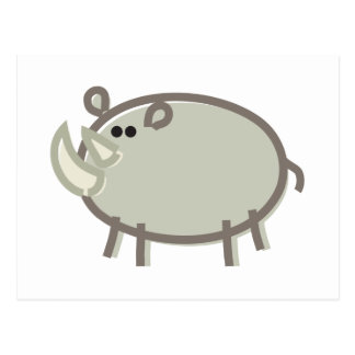 Funny Rhino on White Postcard