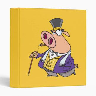 funny rich classy pig hog cartoon binder