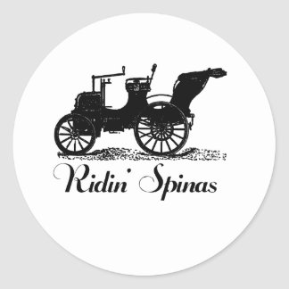 Funny Ridin' Spinas Classic Round Sticker