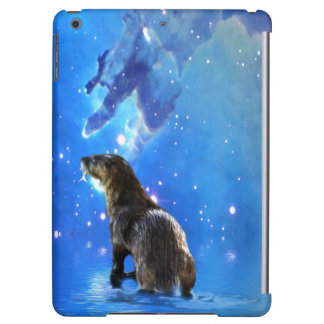 Funny River Otter and Space Nebulae Astronomy Pun Case For iPad Air