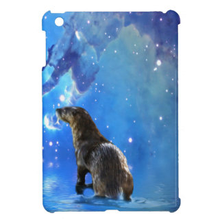 Funny River Otter and Space Nebulae Astronomy Pun iPad Mini Cases