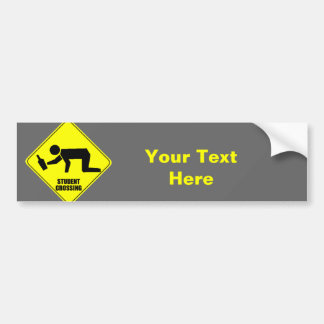 Funny Road Sign - Drunk Student Crossing Bumper Sticker