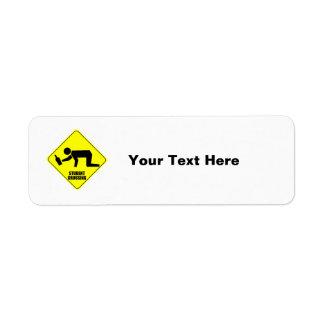 Funny Road Sign - Drunk Student Crossing Return Address Label