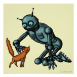 Funny robot and cat art poster