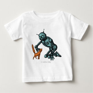 Funny robot and cat baby t-shirt