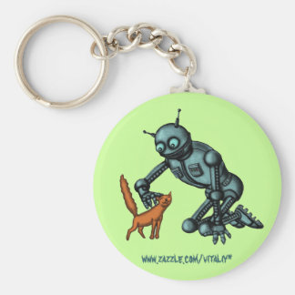 Funny robot and cat key chain