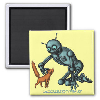 Funny robot and cat magnet design