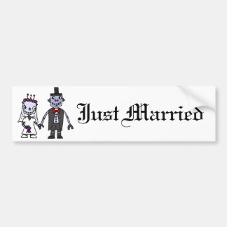 Funny Robot Bride and Groom Wedding Bumper Sticker