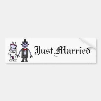 Funny Robot Bride and Groom Wedding Bumper Sticker