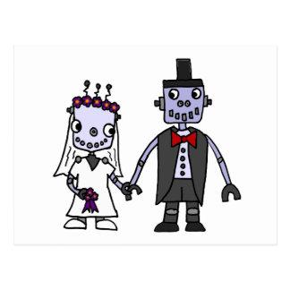 Funny Robot Bride and Groom Wedding Postcard