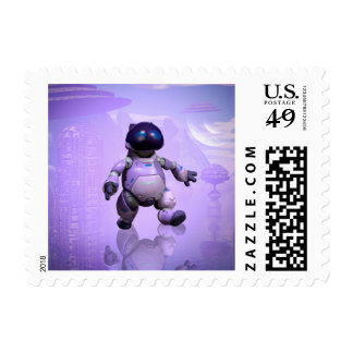 Funny robot cat stamps