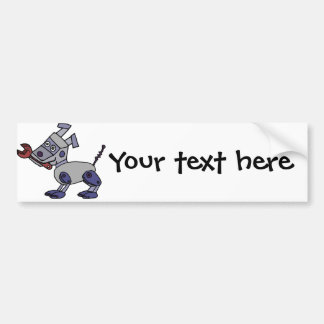 Funny Robot Dog with Wrench Bumper Sticker