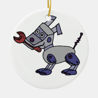Funny Robot Dog with Wrench Ceramic Ornament