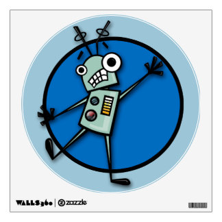 FUNNY ROBOT ILLUSTRATION WALL DECAL
