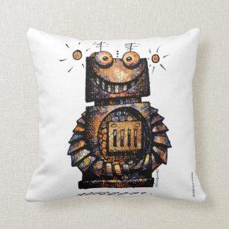 Funny Robot on White Throw Pillow
