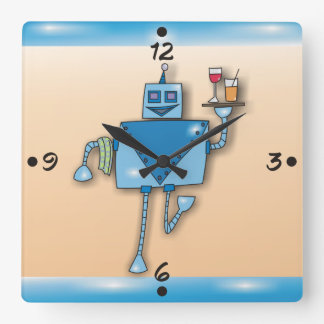 Funny Robot Waiter With Tray and Towel Wall Clocks