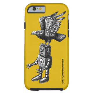 Funny robot with eagle ink pen drawing art case