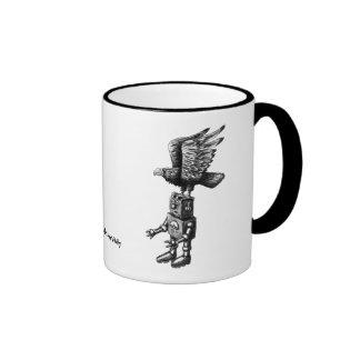 Funny robot with eagle ink pen drawing art mug