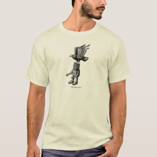 Funny robot with eagle ink pen drawing art t-shirt